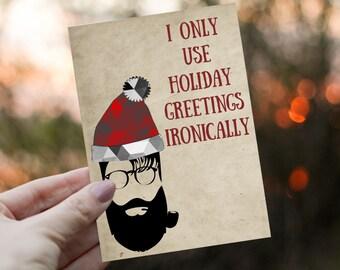 Hipster Christmas Card, Funny Holiday Season Card, Hipster Santa, Jute, Kraft, Clause, Non-Denominational, Printed, Ready to Send, 12 Cards
