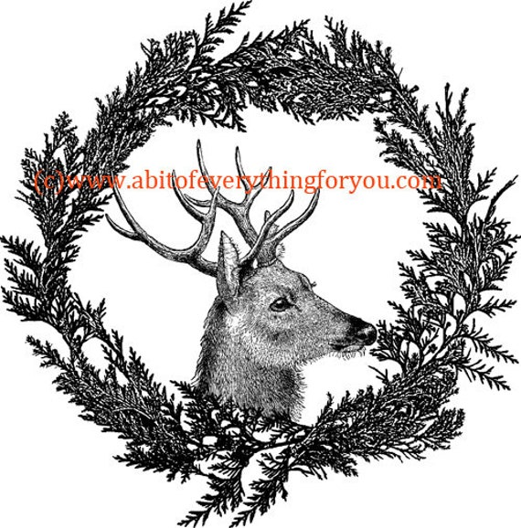 deer buck pine branch wreath printable wall art print png clipart vintage animal art digital download image graphics black and white