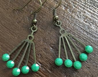 Art Deco green jade swarovski crystal dangle geometric earrings