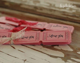 I Love You Tickets - I Love You Carnival tickets - I Love You tag - Wedding Tickets - Valentine Tickets - I Love You Valentine-Pink Carnival