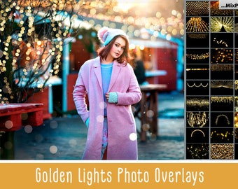 100 Golden lights Effect Photo Overlays, Gold Bokeh Photoshop Overlays, Bokeh Photo layer, sparkles effect, Wedding Overlay, Tree Lights