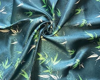Blue Green Light Weight Printed Silk Brocade