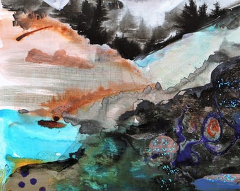 """Turquoise Abstract Painting, """"Immensity"""", Contemporary Landscape, French Mountains"""