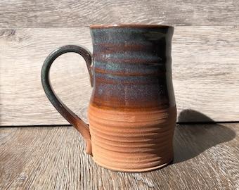 Handmade XL Unique Pottery Mug Multi Colour (Green/Brown/Raw) 16oz