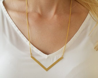 Gold Chevron Necklace, Gold Long Necklace, V Necklace, Everyday Geometric Necklace, Unique Gold Necklace, Gifts For Her, Gold Trendy Jewelry