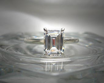 High Quality Precision Faceted 8x6mm (1.5 Carats) Emerald Cut Cubic Zirconia Sterling Silver or 10k Gold Ring Size Made to Order