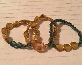 Gold and Blue Beaded  Bracelet Set / Boho Vibe / Mix and Match / Unique Gift / Impress for less