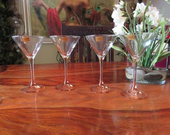 Elegant Luminarc Verrerie D' Arques French Martini Pink Stemware Set of Four