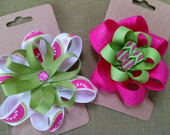 2 Girls Clip on HAIR BOWS Summer Sandles and Watermellon Approx 3 inch and 4 inch Handmade