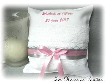 Pink, grey and white custom lace ring pillow