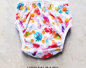Sea Animals Swim Diaper, Reusable Swim Diaper, Cloth Swim Diaper, Swim Cover, Baby Swim Diaper, Travel Swim Diaper, Modern, Waterproof