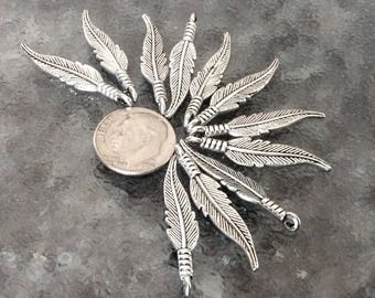 12 Antiqued Silver Feather Pendants, 2 sided charms, Detailed feather necklaces, silver feather earrings
