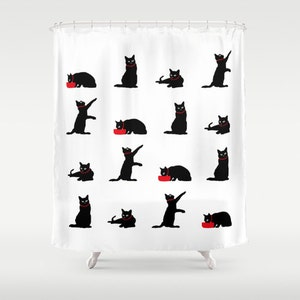 Cat Shower Curtain, Black And White Shower Curtain, Cute Shower Curtain, Cat  Bathroom