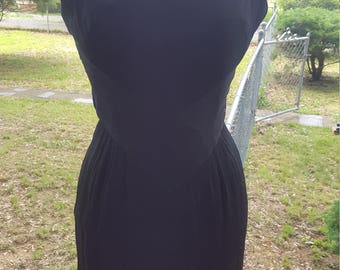 Vintage Short Black Dress with Cape Back