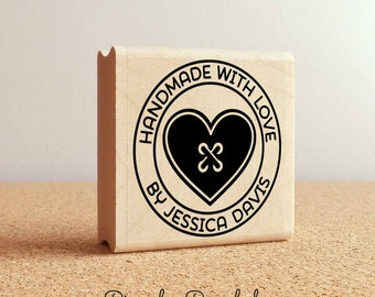 Personalized Sewing Rubber Stamp, Handmade with Love Heart Button Custom Stamp