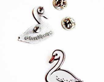 white SWAN lapel pin, unique ballet gifts for teens, swan lake, swan jewelry, enamel pin bird, swan party favors, swan ballerina gift