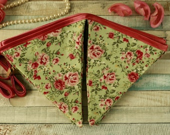 Floral bunting, fabric garland, shabby chic decor, green floral banner, vintage home decor, pink floral, bunting banner, floral home decor