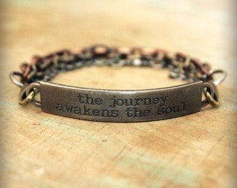 "2pc Indie Inspirational Quote Interchangeable Bracelet ... ""The journey awakens the soul"""