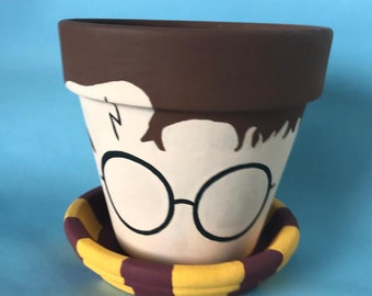 Harry Potter Inspired Hand Painted Terra Cotta Pot