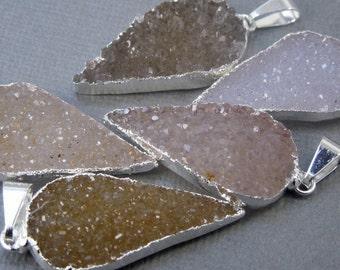 Druzy Crystal Gemstone edged in Electroplated Sterling Silver- Drussy Druzzy Drusy Teardrop Pendant Druzy Stone (S21B6-03)