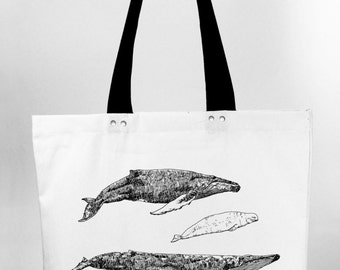 Whales - hand screen printed cotton canvas tote bag