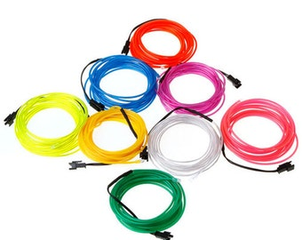 EL Wire  9FT Flexible Neon Light Glow Rope with battery pack  You choose the color