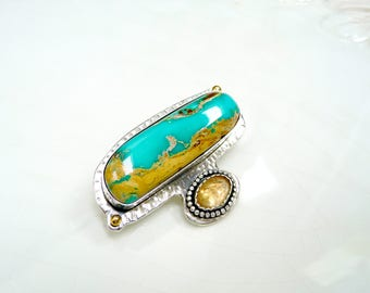Ribbon Turquoise Brooch Pin  - Gold Topaz, Argentium Sterling Silver, 14k Gold Accent