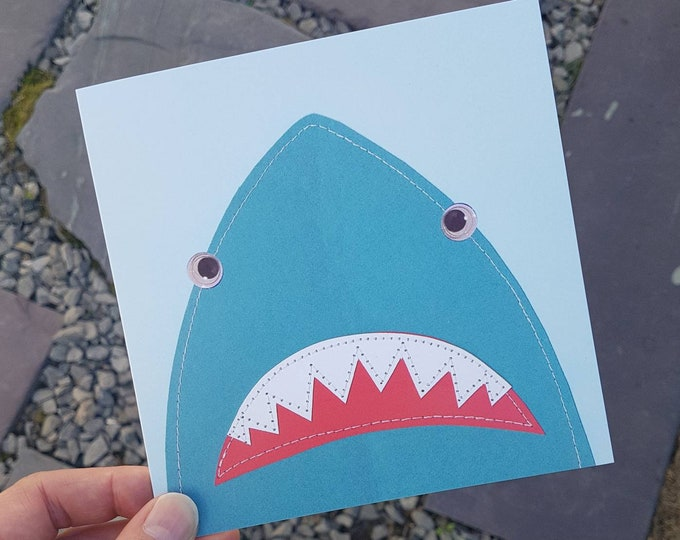 Turquoise Shark Birthday Greetings Card • Printed from Original stitched art • 6 inch square with brown kraft envelope •
