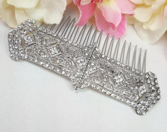 Filigree Wedding Hair Comb, Vintage Inspired Crystal Hair Comb, Art Deco 1920's Hair Accessories, Silver Filigree Hair Comb, Prom Homecoming