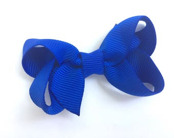 Small royal blue hair bow - blue bow, blue baby bow, royal blue bows, girls hair bows, girls bows, baby bows, toddler bows, small hair bows