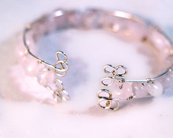 Sterling Silver and Rose Quartz Wire Wrapped Bracelet