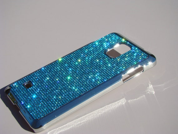 Samsung Galaxy Note 4 Aquamarine Blue Rhinestone Crystal, Silver Chrome Case. Velvet/Silk Pouch Bag Included, Genuine Rangsee Crystal Cases.