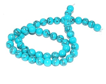 30, 50 or 100 turquoise bead 6 mm or 8 mm natural semi preciseuse (marble)