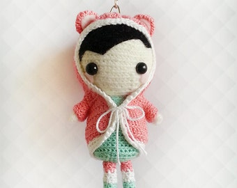 Crochet Doll Keychain, Crochet Keychain, Plush Doll, Amigurumi Doll, Bag Charm, Crochet Charm, Cute Keychain, Valentines Gift for Her