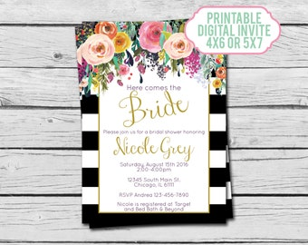 Black & White Striped Floral Bridal Shower Invitation - Digital File
