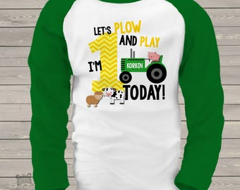 First 1st birthday shirt - green tractor plow and play farm birthday party RAGLAN shirt - with or without farm animals MBD-005-R