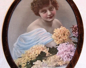 Vintage Print Lady with Flowers - Oval Metal Frame
