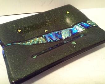 Iridescent art glass tray
