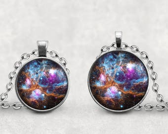 Gift for NASA lover,  NGC-6357 Nebula Pendant, Outer Space Jewelry, Galaxy Photo Jewelry, Cabochon Lucas