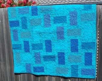 baby boy modern quilt geometric blue and teal ocean colours, cot quilt or crib quilt, tummy time play mat