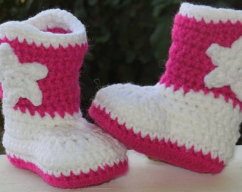Baby Girl Cowboy Boots, Crochet Cowgirl Boots  Hot Pink White, Baby Boots, Baby Girl Booties, Newborn to 12 months Made To Order