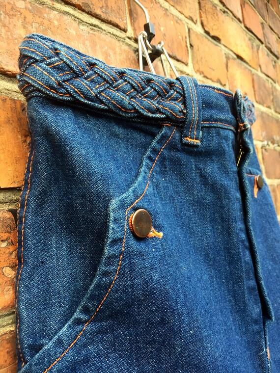 70s long dark denim skirt with orange stiching / side pockets  / Swedish size 38 / US size 6
