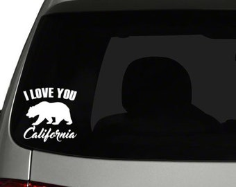 I Love You California Decal w/ grizzly bear