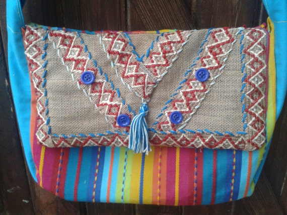 Gypsy Blue Bag Handmade Turquoise Multicolored Stripes Burlap Front Flap Embroidered Tassel Purple Glass Buttons Braids #SophieLadyDeParis