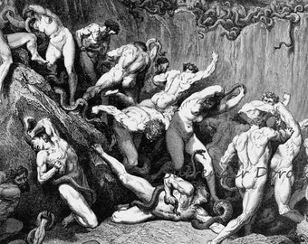 Thieves Tormented By Serpents Inferno Canto 24 Engraving Gustave Dore' Snake Hell Black & White