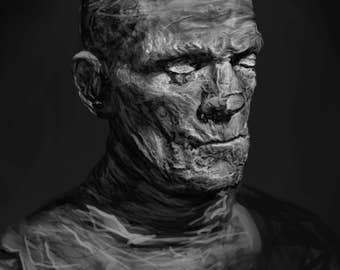 Boris Karloff as The Mummy Black and White by Mikey Sevier