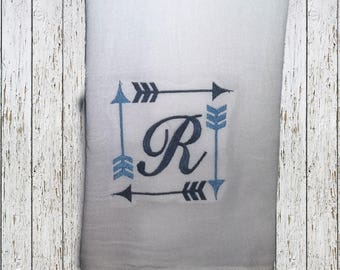 Embroidered Arrow & Initial Flour Sack Towel
