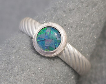 Opal and Sterling Engagement Ring, Valentines Day jewelry, organic hand forged, diagonal pattern, shiny, oxidized, US size 8.5 ready to ship