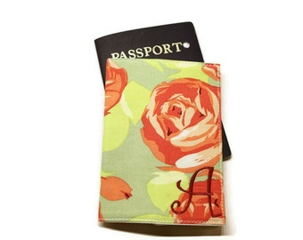 Gorgeous roses fabric monogrammed passport case, holder, cover. Sage and rose. Personalized gift idea. Personalized girlfriend gift.