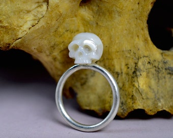 Carved Skull Pearl Ring on Thin Sterling Silver Band - Carved Pearl Jewelry - Gift - Gift for him - Gift for her - Holiday Jewelry